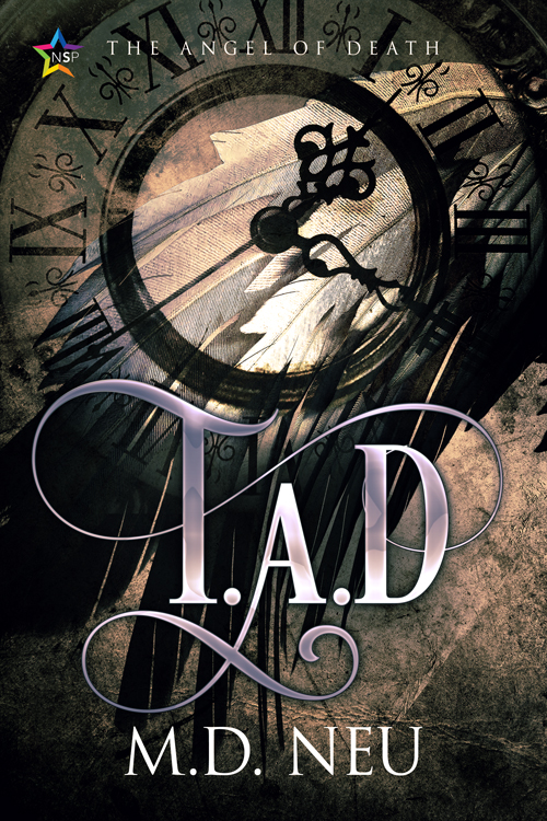 Cover for TAD-The Angel of Death by M.D. Neu with clock and angel wings