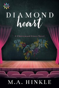 The cover of the novel Diamond Heart by M.A. Hinkle featuring a graffiti heart above a wooden stage with drawn curtains