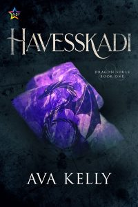 Cover for Havesskadi by Ava Kelly depicting a stylized dragon over a raw amethyst gem.