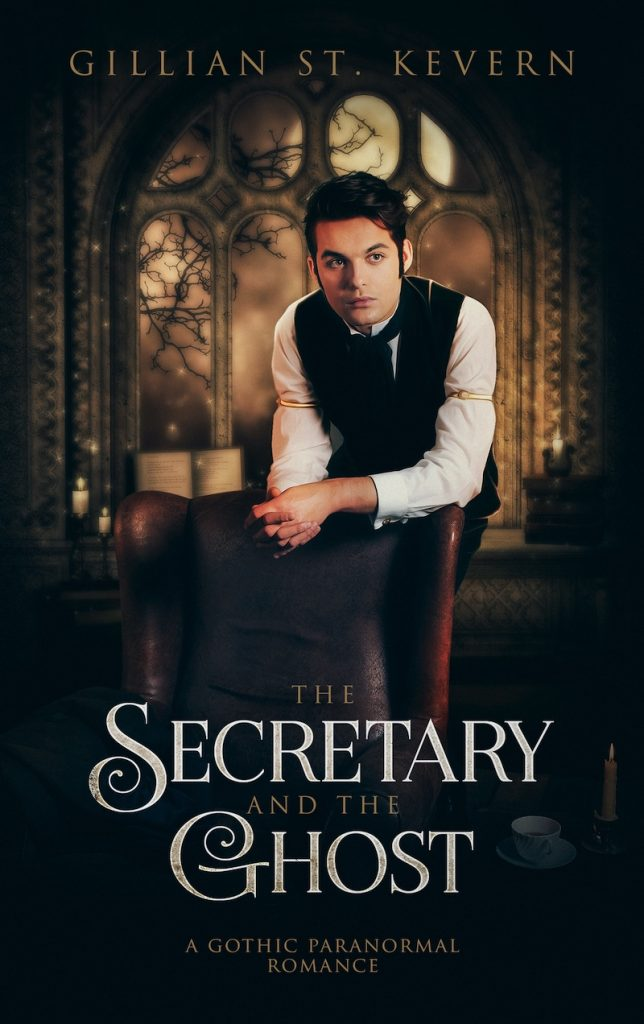 Cover of The Secretary and the Ghost: A young man in Victorian shirtsleeves and vest leans over the back of a leather chair, his expression pensive. The full moon is visible through the gothic arches of the window behind him.