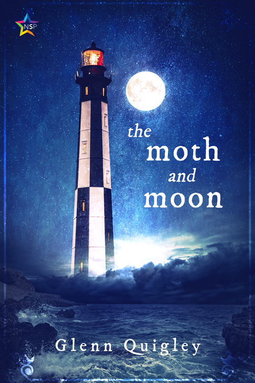 Cover of The Moth and Moon. A lighthouse, the moon and the sea.