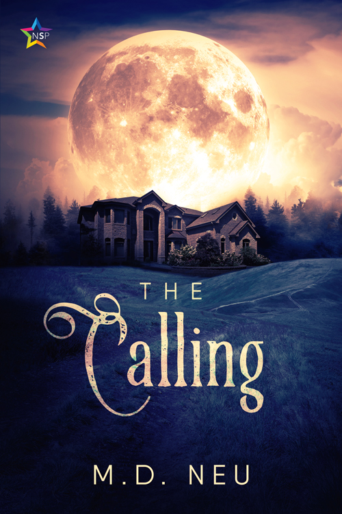 Cover for The Calling by MD Neu with a large moon over a tudor mansion on a hill