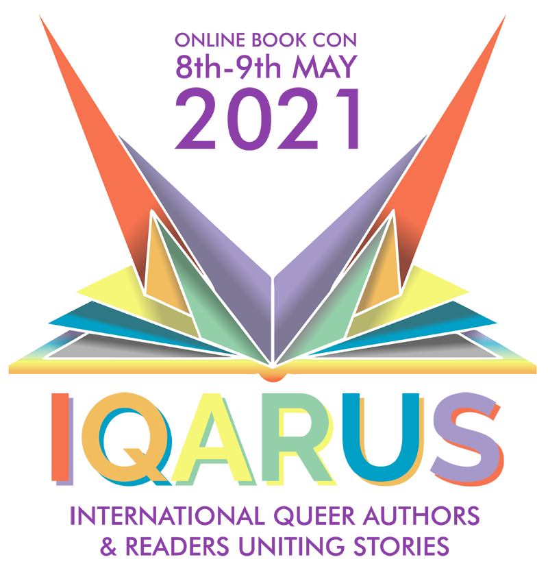 iqarus book con logo image as an abstract bird emerging as a book in rainbow colors