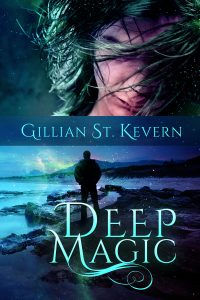 Cover of Deep Magic. The top half of the cover features a man with his long hair masking his face. A green highlight suggests a connection to the sea. In the bottom half, a man stands in silhouette, looking out over the ocean.