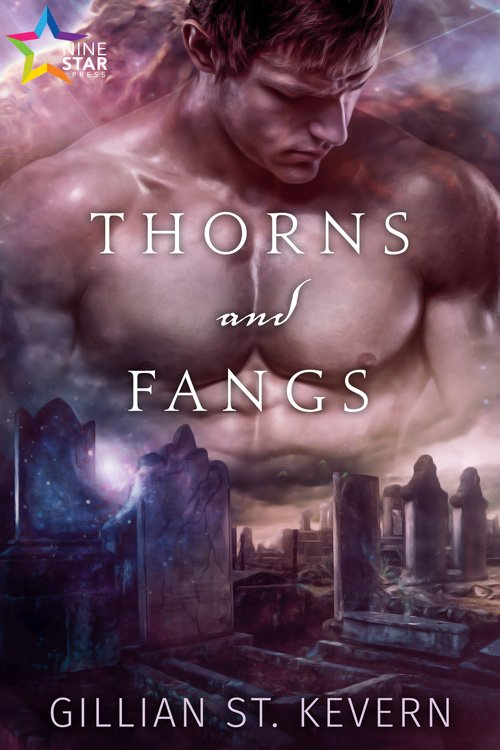 Thorns and Fangs: Bare moody man chest super imposed over a very gothic looking graveyard with just a hint of magical sparkles.