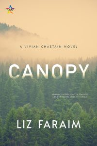 Title for Canopy by Liz Faraim. The Cover is a forest of trees in a fog.