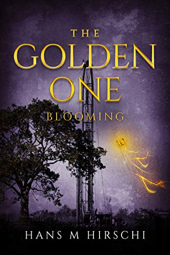 The Golden One – Blooming by Hans M. Hirschi a purple background with dark tree and metal structure. Attached to the structure is a golden kite.