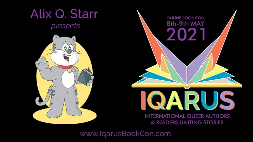 graphic with iqarus logo looking like a book opening into a bird and the mascot alix q starr an anthropomorph grey cat