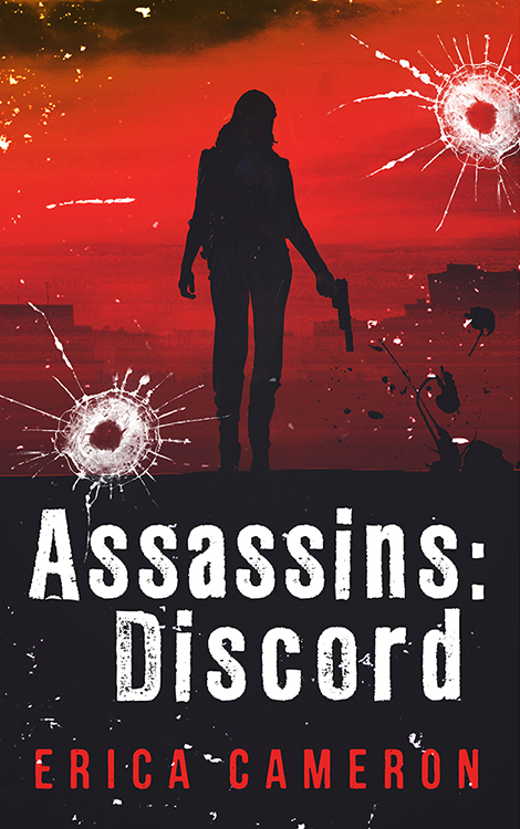 Assassins Discord covee with a silhouette holding a gun over a red background