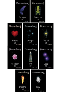 Diamondsong Cover: Each of the ten novellas are black, with Diamondsong across the top in a stylized white font, tinted to match a colorful icon in the center of each, surrounded by matching sparkles. The title, number, and author name are in white along the bottom.
