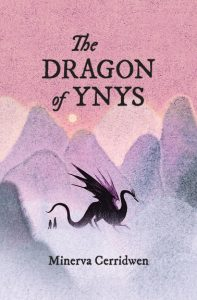 The Dragon of Ynys Cover: The title is written across the center top half in a fairy tale script over a grainy pastel background of a pink sky and a peach sun, above whimsical mountains in tones of pink, lavender, and grey. A striking black dragon with elegant curves to his body and purple tones to his upwardly extended webbed wings walks forward, as two much smaller humans follow. The first is taller, with longer hair, and wearing a dress or skirt. The second is shorter, with a blockier look. The author's name is written across the bottom in the same font as the title.