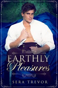 A dark haired man with a rakish grin, wearing an open shirt and high waisted breeches, lounges seductively.