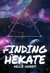 Blue and purple star-scape with four multicolored planets dominate the cover. On top sits a triangle symbol. Stars weave themselves in and around the triangle symbol. The words Finding Hekate (title) and Kellie Doherty (author) are on the cover.