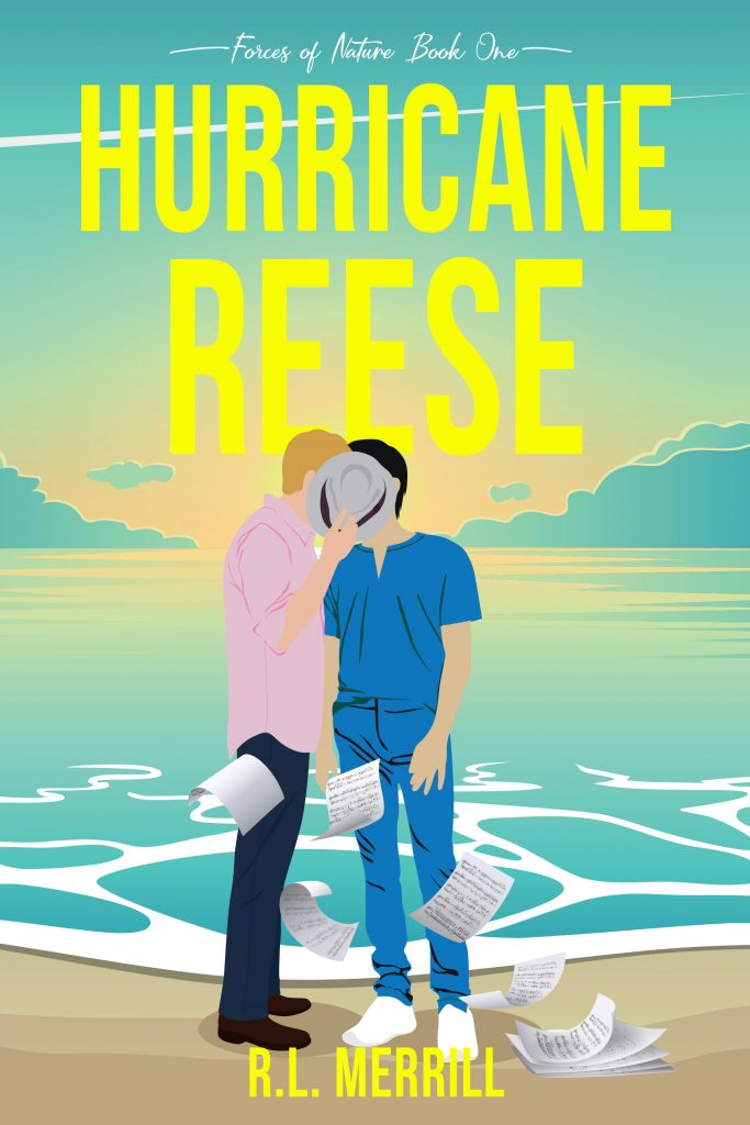 Hurricane Reese: Forces of Nature Book One by R.L. Merrill. Cover is two men kidding on the beach with the ocean behind them