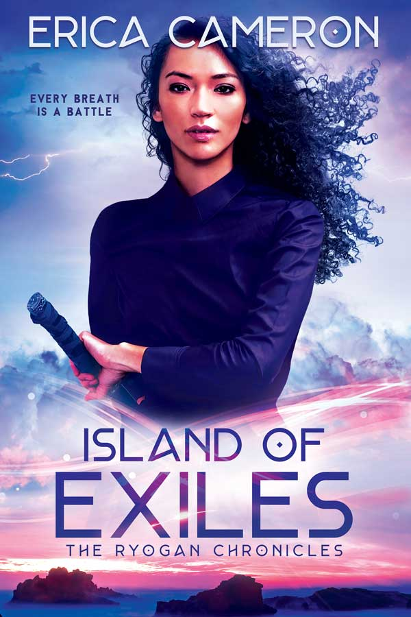 Island of Exiles cover with a long haired woman holding a sword