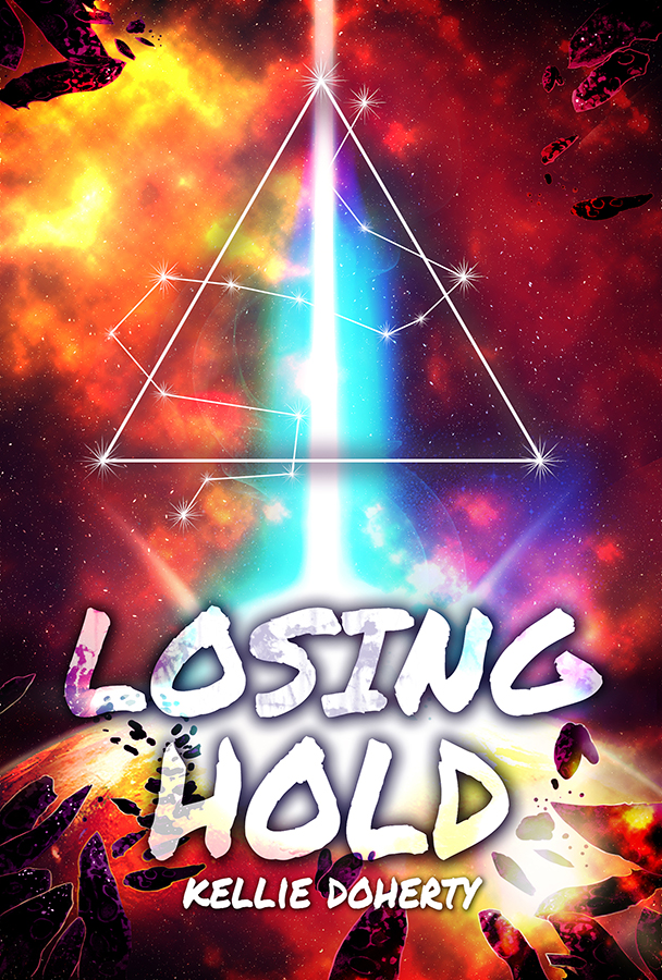 Orange and yellow star-scape dominates the cover. A beam of aqua light shoots down in the middle of the cover, crashing onto the large planet at the bottom. On top sits a triangle symbol. Stars weave themselves in and around the triangle symbol. The words Finding Hekate (title) and Kellie Doherty (author) are on the cover.