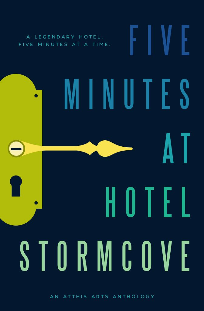 Cover Description: Dark blue cover, the title words are spaced along the length of the cover in shades of blue and green along with an old-fashioned yellow and green door handle where the door handle turns into a clock handle.