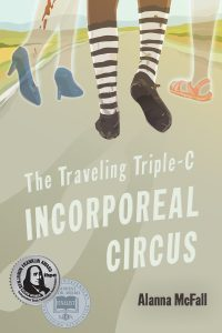 Cover Description: Author and title on a sandy-colored long road, with three pairs of legs and feet walking away from the viewer. Two legs glow as if ghosts: one with blue bumps and blood on her leg and one with peach sandals. In the center, dark-skinned legs are wearing worn striped socks and practical shoes.