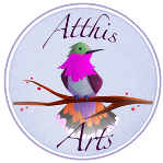 Atthis Arts Logo with a bird on a tree branch.
